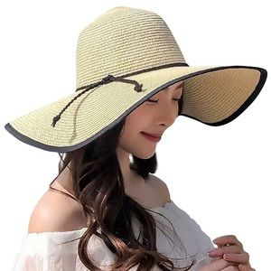 Accessories - Beige Straw Hat Floppy  UV Protection Beach Hat